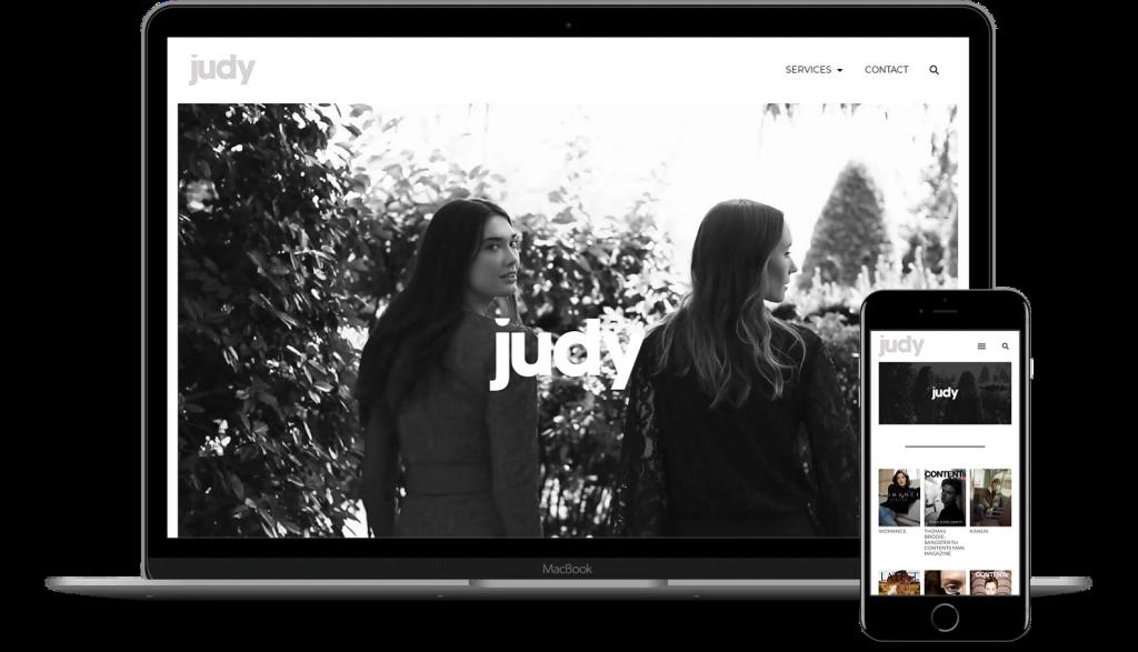 Judy Inc website mockup